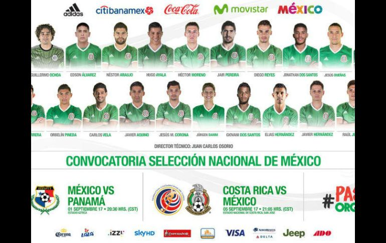 De los 25 jugadores convocados 12 militan en la Liga mexicana y 13 en el  extranjero 4b324ea3578e0