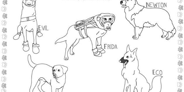 Frida y perritos rescatistas, ahora personajes para colorear