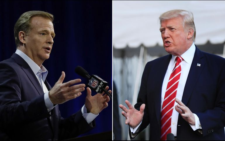 El presidente de Estados Unidos Donald Trump ha intervenido pidiendo que Goodell (I) intervenga. AP/ARCHIVO