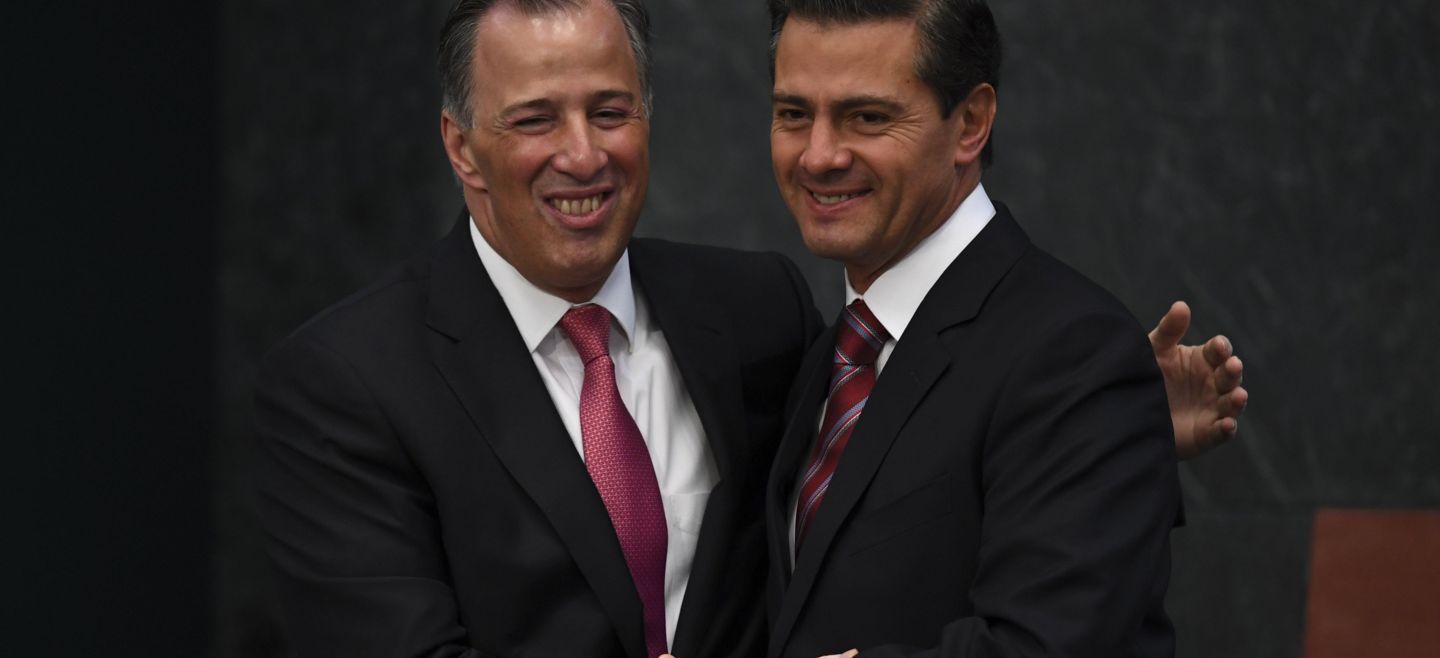 Mexican Finance Minister Jose Antonio Meade (L) is welcomed by Presid - Mexican Finance Minister Jose Antonio Meade (L) is welcomed by President Enrique Pena Nieto as he arrives for the ceremony to present his resignation, at Los Pinos Presidential Residence in Mexico City on November 27, 2017. Meade resigned amid growing rumors that he will opt for the country