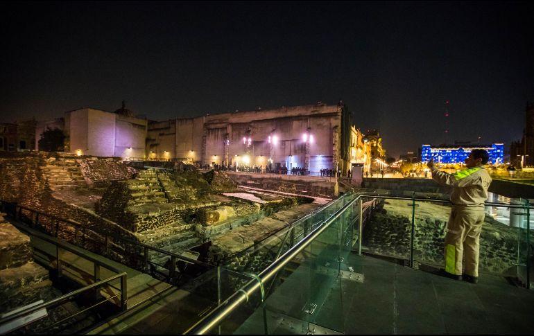 Con la iluminación, se da vida a los legados arquitectónicos para mostrar y ensalzar el valor del Templo Mayor. SUN/G. Espinosa