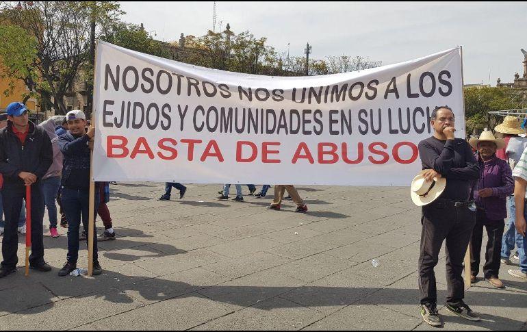 A la marcha también llegaron ejidatarios de otros municipios de Jalisco. EL INFORMADOR/N. MARTÍN DEL CAMPO
