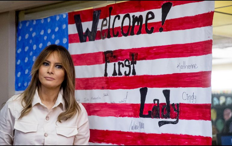 Melania durante su visita al reugio Upbring New Hope Children Center, en McAllen, Texas, este jueves. AP / A. Harnik