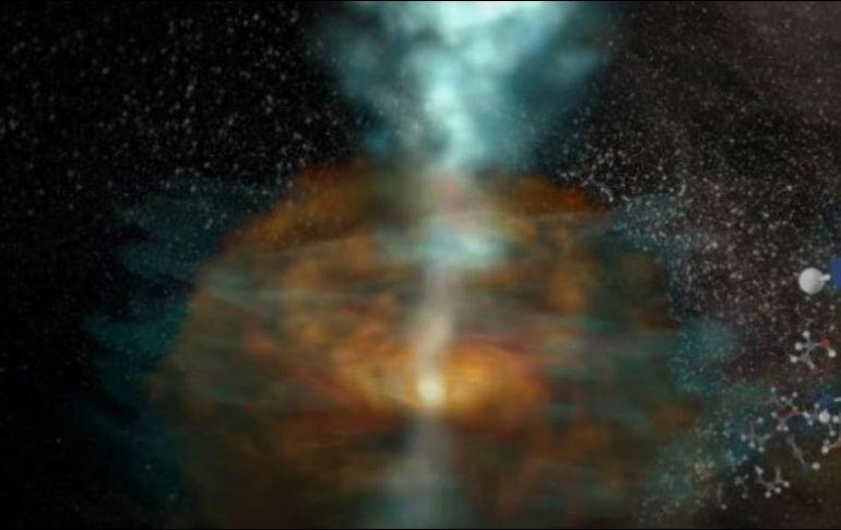 Los astrónomos creen que los chorros de agua pesada observados, son fenómenos recientes que se empiezan a desplazarse a la nebulosa circundante. TWITTER / @ALMAObs_esp