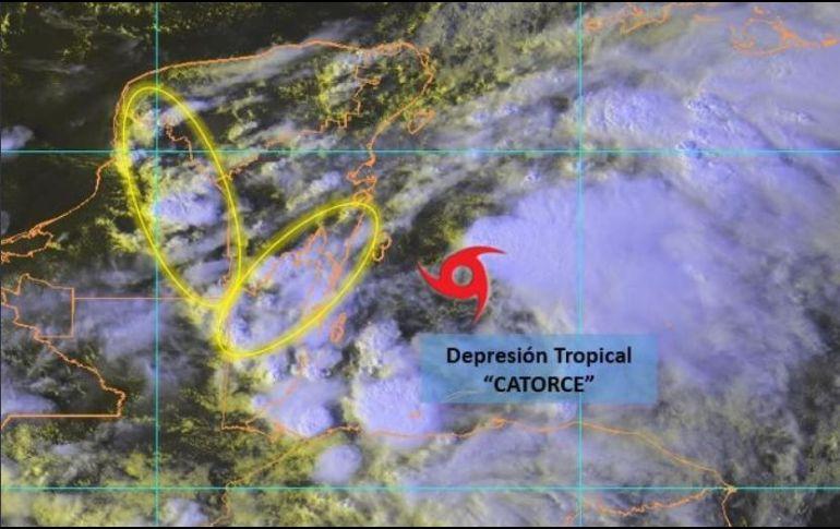 Depresión tropical 14 se localiza frente a las costas de QRoo