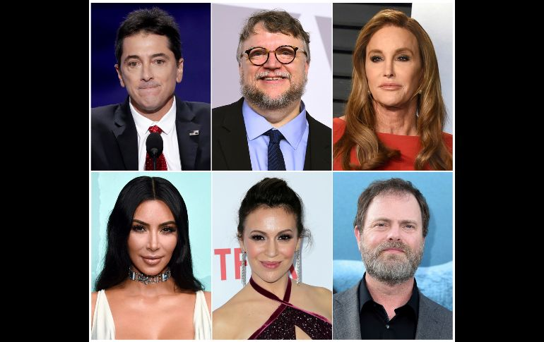 This combination photo shows celebrities - This combination photo shows celebrities, top row from left, Scott Baio, Guillermo del Toro, Caitlyn Jenner and bottom row from left, Kim Kardashian, Alyssa Milano and Rainn Wilson, who have been forced to evacuate their homes due to a fast-moving wildfire in Southern California. (AP Photo) California Wildfires - Celebrities - COMBINATION PHOTO.
