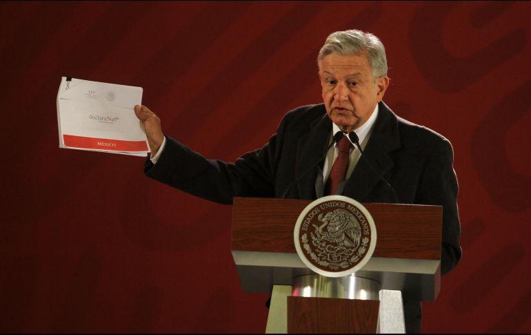 López Obrador reitera que no habrá excepciones sobre la presentación de la declaración de bienes. NTX / Ó. Ramírez