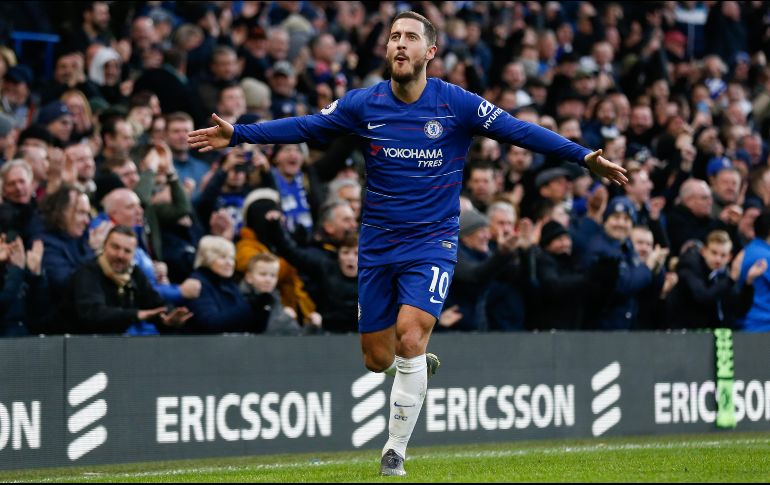 Hazard celebra un gol con el Chelsea.