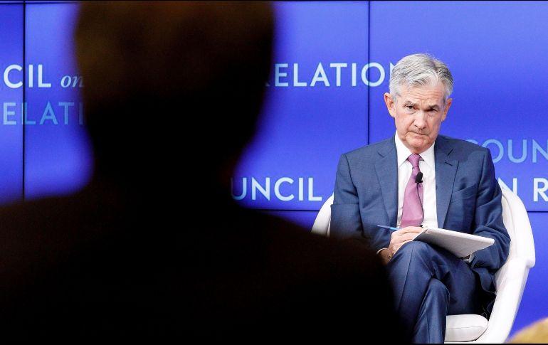 El presidente de la Reserva Federal (Fed) estadounidense, Jerome Powell, ofrece una conferencia en el Council Foreign Relations de Nueva York. EFE/J. Lane