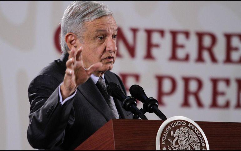 Respecto a la propuesta de legisladores estadounidenses de que el narcotráfico sea perseguido como una actividad terrorista, López Obrador señala que respeta su opinión. NTX / A. Guzmán