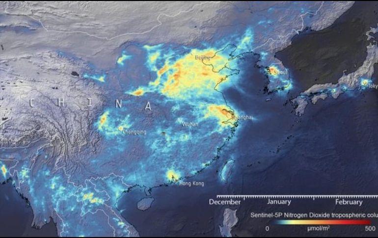 Este mapa muestra la variación en las emisiones de NO2 sobre China (diciembre-marzo).  TWITTER / @esa