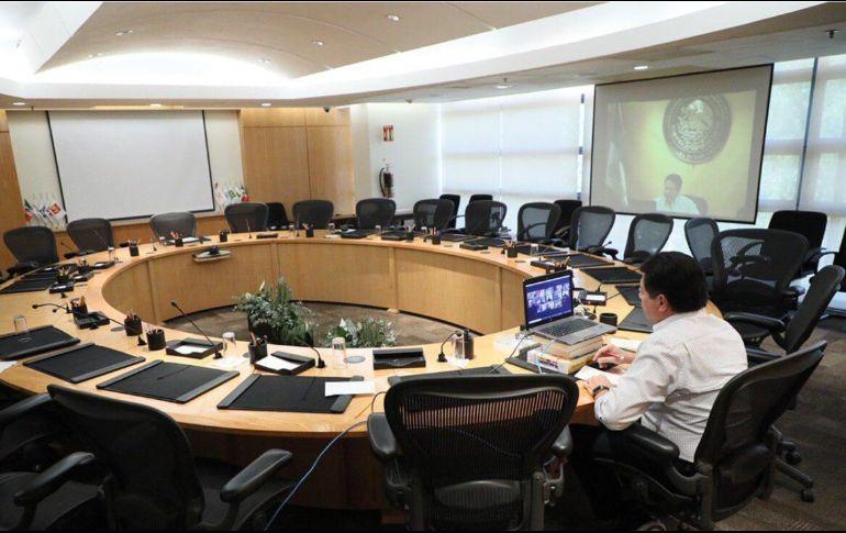 El presidente de la Jucopo, Mario Delgado, publicó en sus redes sociales imágenes del encuentro virtual. TWITTER/@mario_delgado