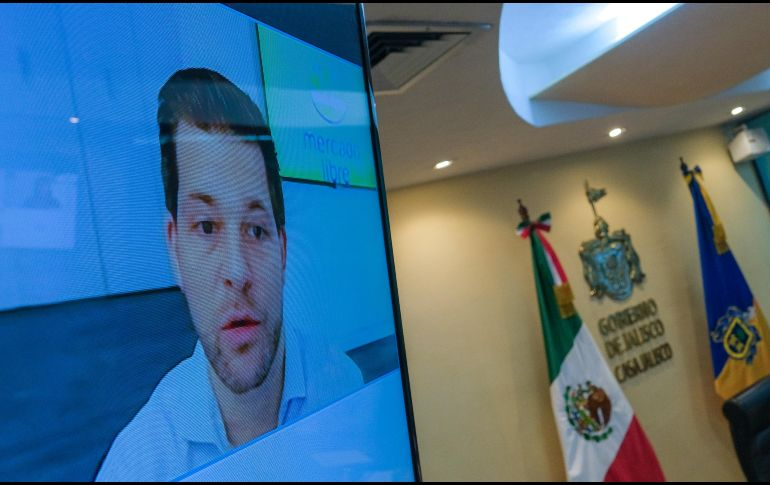 En conferencia de prensa virtual, David Geisen, director de Mercado Libre en Jalisco. ESPECIAL/Gobierno de Jalisco