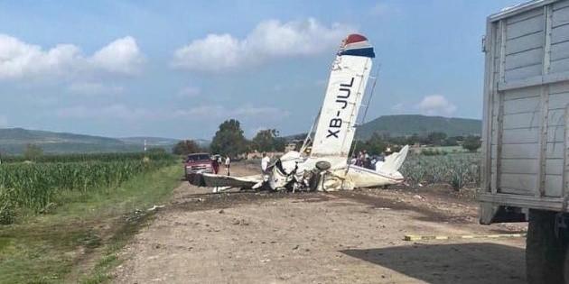 Avioneta cae en cultivos de agave en Romita, Guanajuato