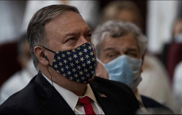 El secretario de Estado Mike Pompeo, preside un evento público en Washington. EFE/ARCHIVO