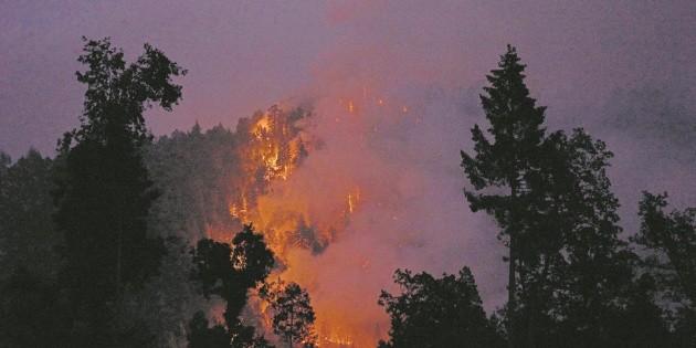 Brigadistas trabajan para sofocar terrible incendio en Nuevo León
