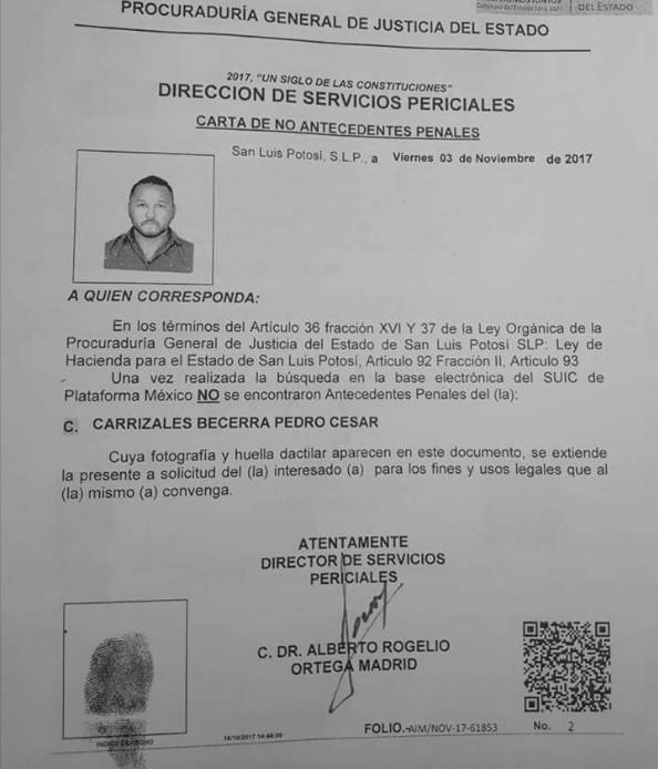 Publican Carta De No Antecedentes Penales De El Mijis El